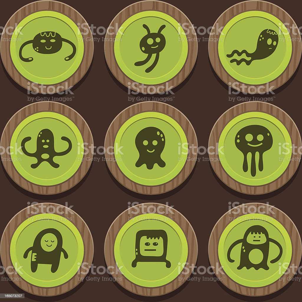 Gak Wooden Badges royalty-free stock vector art