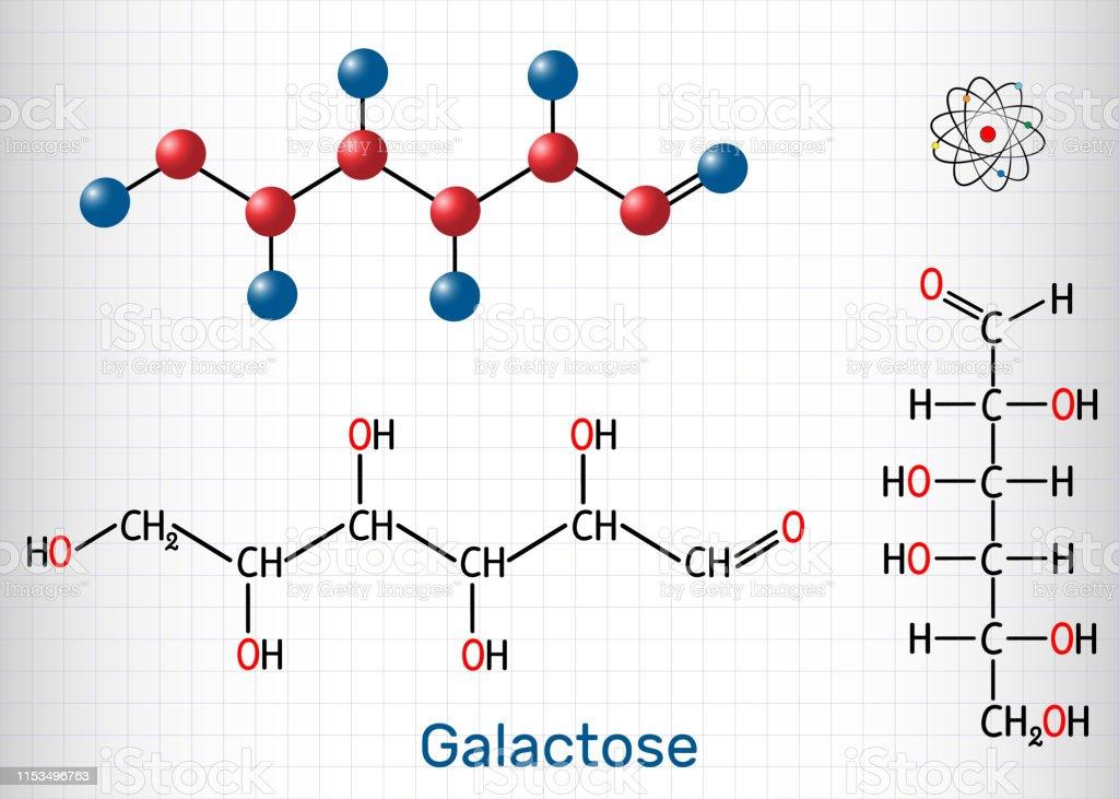 Galactose Dgalactose Milk Sugar Molecule Linear Form