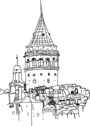 Galata Tower hand drawn, vector illustration - Illustration