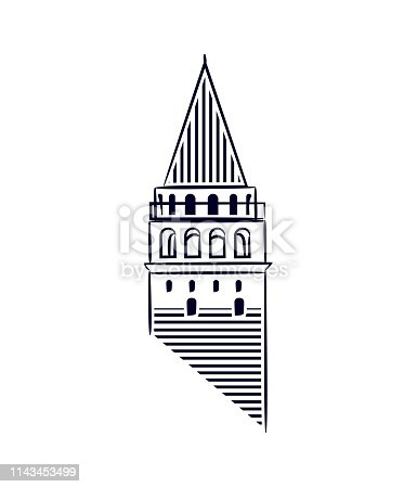 Galata Tower Istanbul isolated icon illustration made line art style. Galata Tower as a symbol of Karakoy and istanbul.