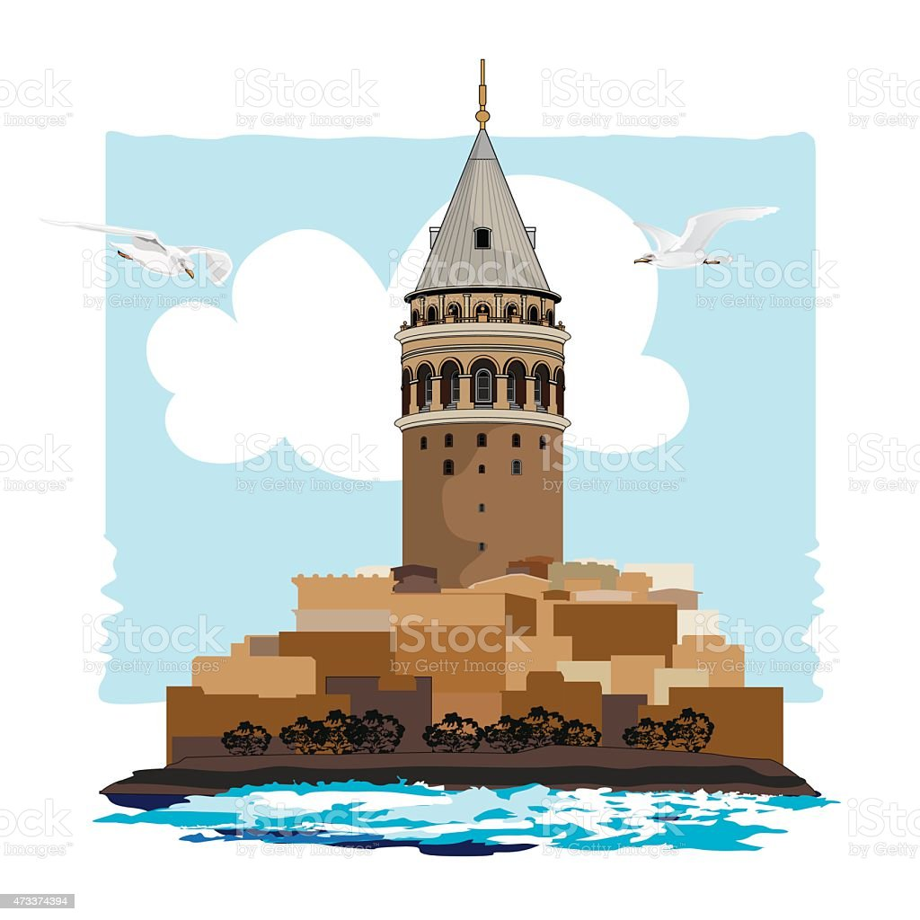 Galata Tower vector art illustration