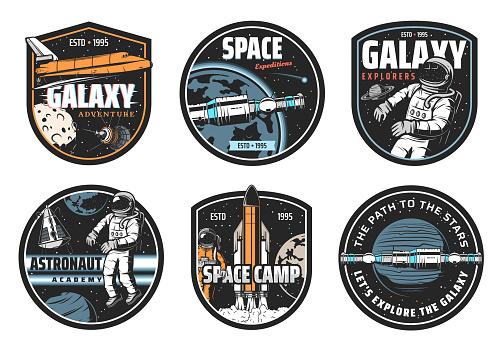 Galaxy explorer, space travel vector icon set