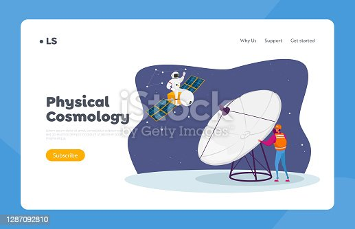 Galaxy Research, Exploration Landing Page Template. Astronomy Engineer Character Research Outer Space with Huge Antenna