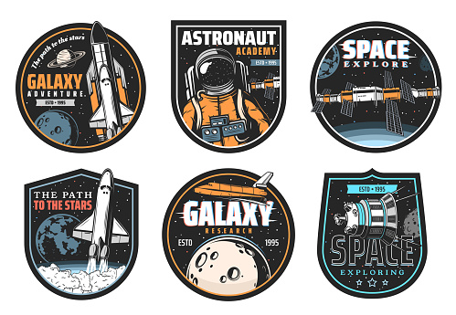Galaxy research, space explore and astronaut icon
