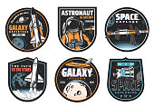 istock Galaxy research, space explore and astronaut icon 1281170307