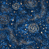 Vector galaxy dark blue textured seamless pattern with gold nebula, constellations and stars. Golden space background
