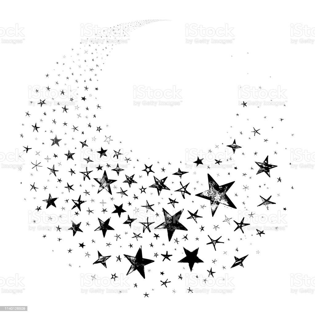Siyah Cekim Yildiz Galaxy Beyaz Arka Planda Zarif Yildiz