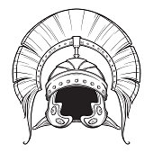 istock Galea. Roman Imperial helmet with crest tipically worn by centurion. Front view. Heraldry element. Black a nd white drawing isolated on white background. 1001580796