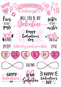 Galentine's day photo overlays, Women's day cards, feminist doodles, lettering, set of vector design elements