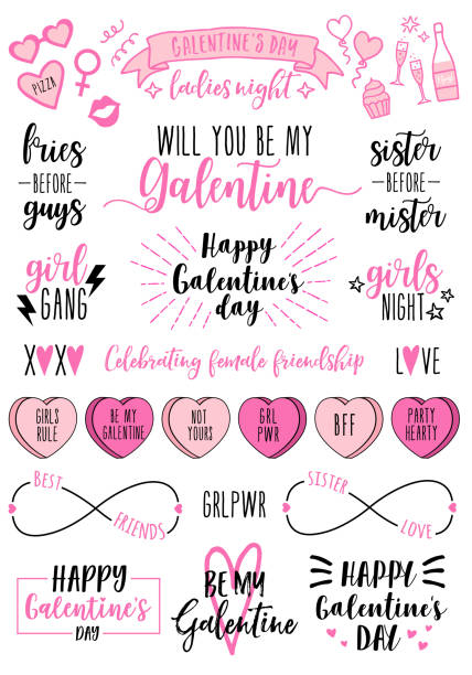 galentines day cards, women's day, feminist doodles, vector design elements - kiss stock illustrations