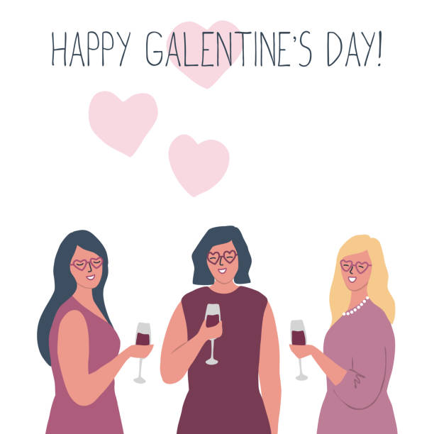 Galentines day. Three young women are drinking wine vector art illustration