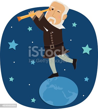 Galileo is standing on earth looking in his telescope at the stars. Eps10