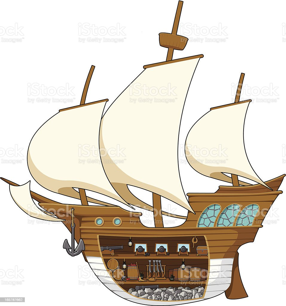 Galleon inside royalty-free stock vector art