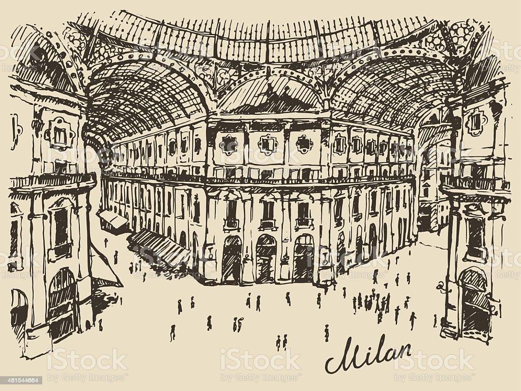 Gallerie Viktora shopping center in Milan Italy vector art illustration