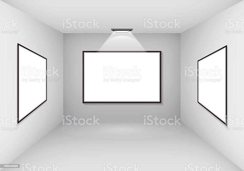Ilustración de Interior De La Galería Con Marco Vacío En Pared Y ...
