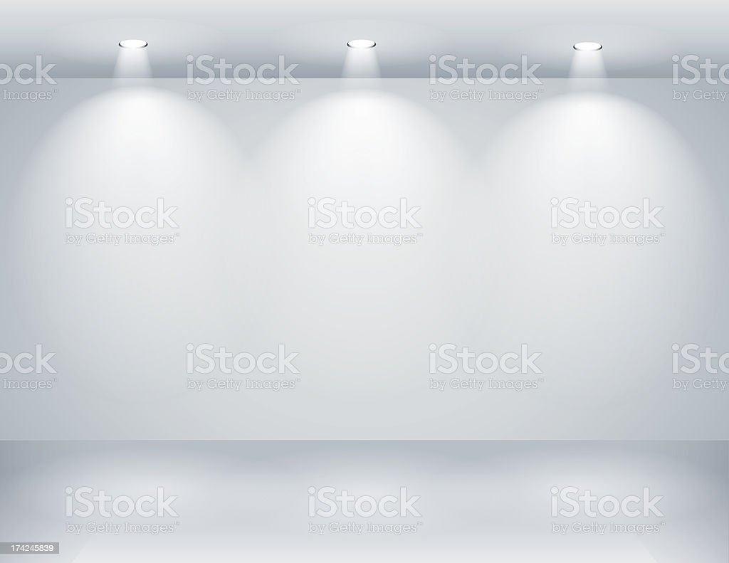 Gallery interior with empty wall and lights vector art illustration