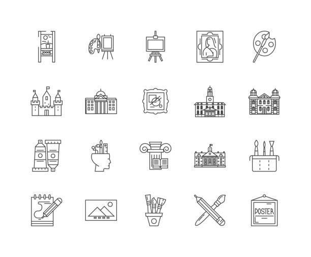 ギャラリーラインアイコン、サイン、ベクトルセット、アウトラインイラストコンセプト - 美術館点のイラスト素材/クリップアート素材/マンガ素材/アイコン素材