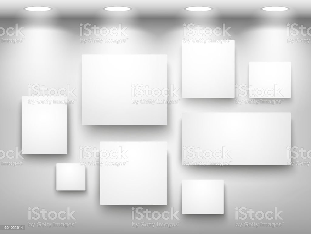 Gallery Of Empty Frames On Wall With Lighting Stock Vector Art ...