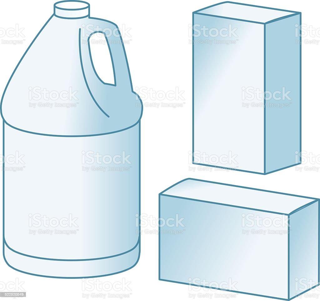 Gallon container + boxes vector art illustration
