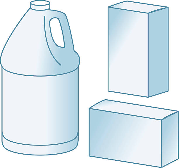 gallon container + boxes - bleach stock illustrations