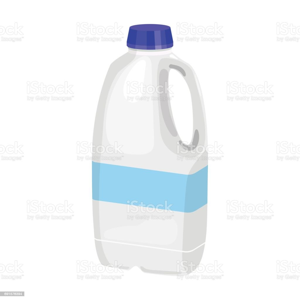 Gallon plastic milk bottle icon in cartoon style isolated on white background. Milk product and sweet symbol stock vector illustration. vector art illustration