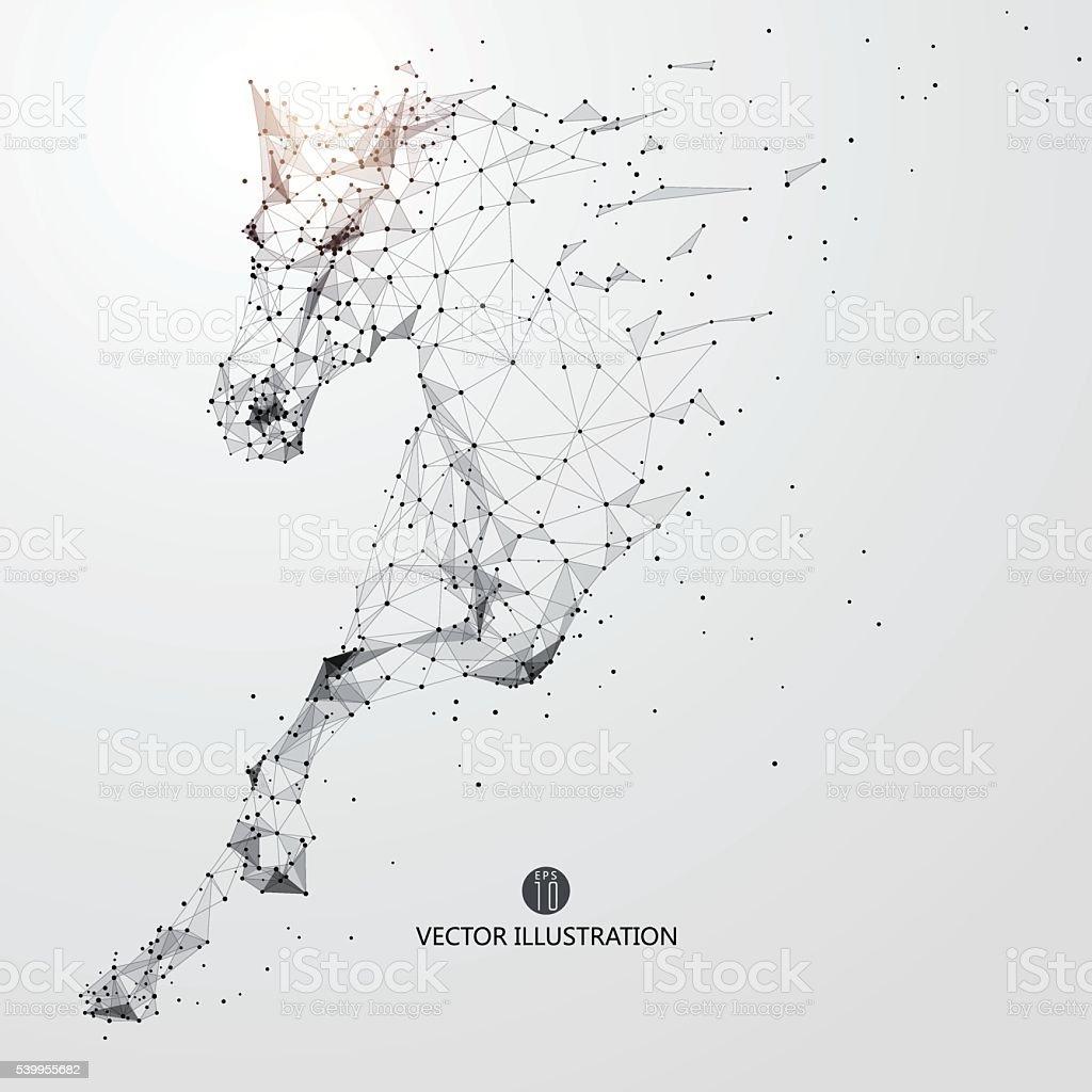 Galopando horse, líneas y conectado al formulario. - ilustración de arte vectorial