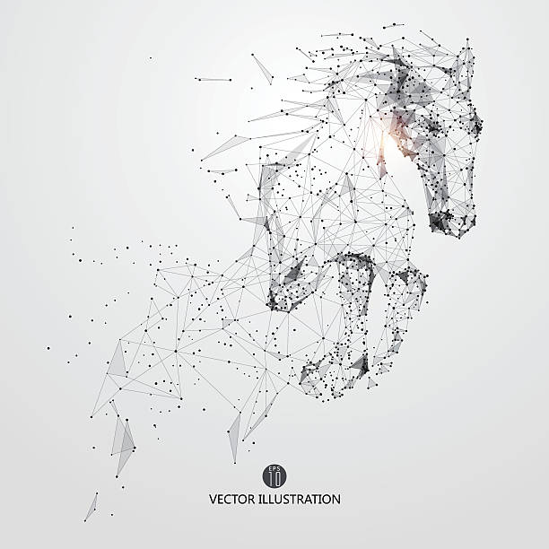 Galloping horse,lines and connected to form. vector art illustration