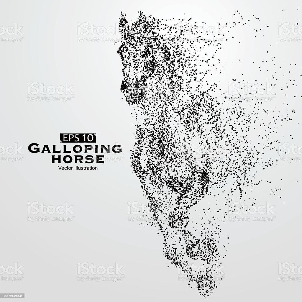 Al galope horse, muchas de las partículas, sketch, ilustración de vectores, - ilustración de arte vectorial
