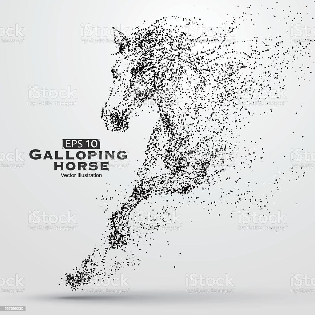 Al galope horse, muchas de las partículas, el desarrollo económico y el progreso. - ilustración de arte vectorial