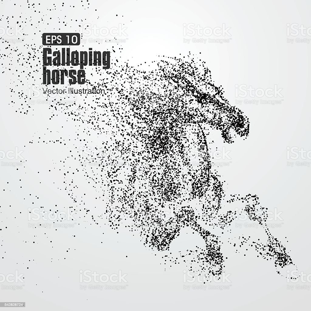 Galloping horse,Many particles,sketch,vector illustration, vector art illustration