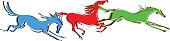 Galloping horses on white background