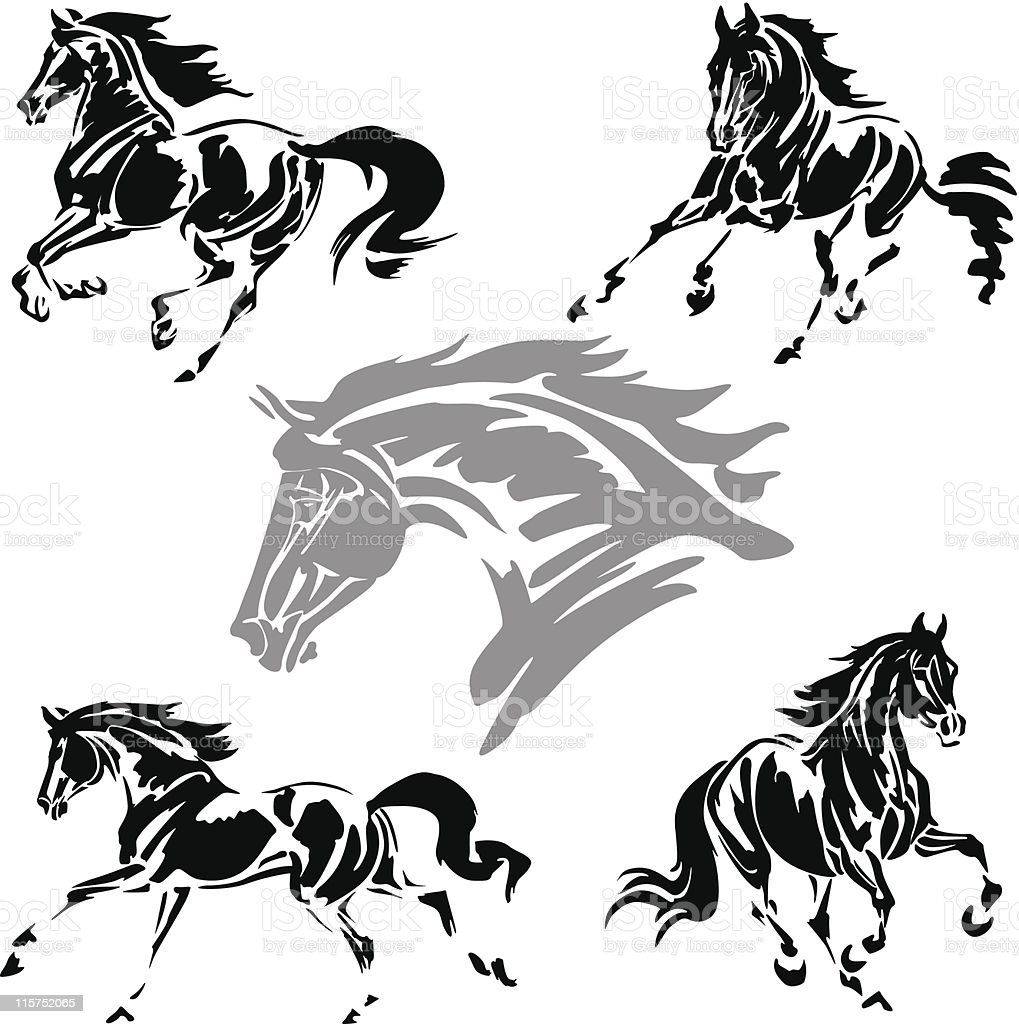 Galloping horses vector art illustration