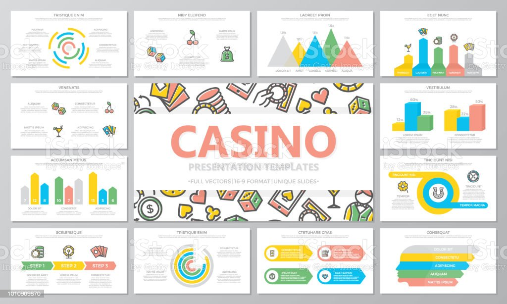 Gambling and casino multipurpose presentation templates and infographics elements on white background. Use for business annual report, flyer, corporate marketing, leaflet, advertising, brochure. vector art illustration
