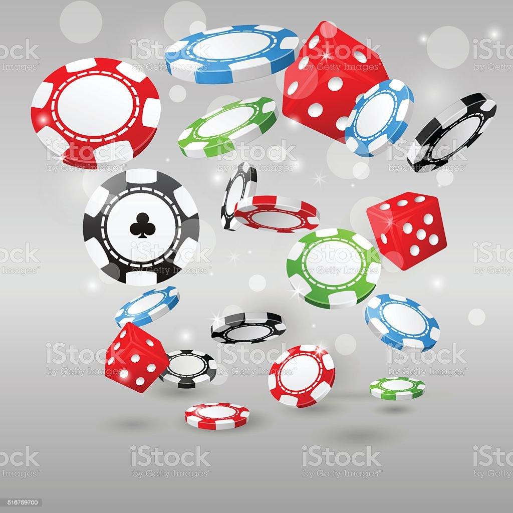 Gambling and casino symbols - flying poker chips and dice vector art illustration