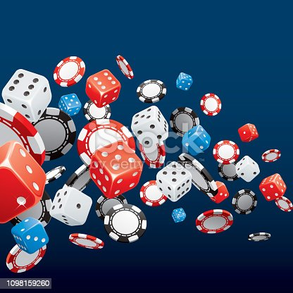 Poker chips and dice on blue casino background