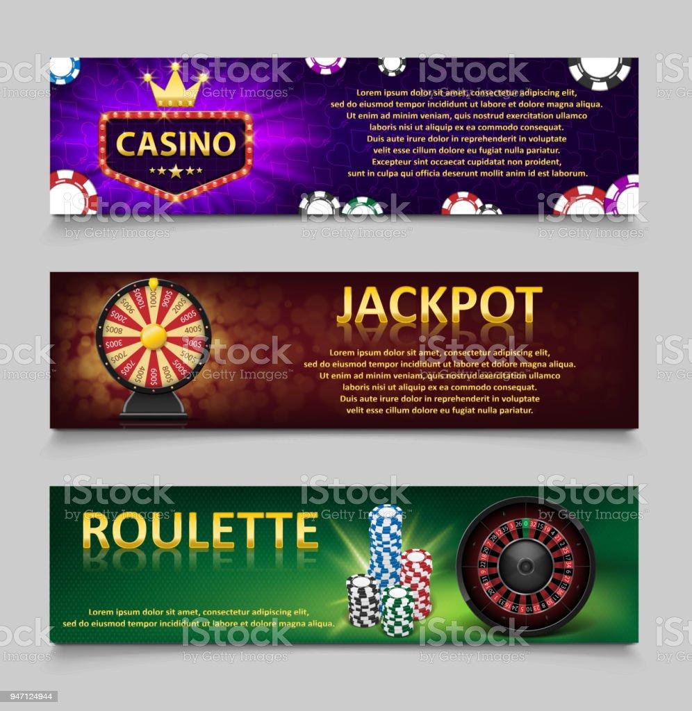 Juegos de azar banderas con ruleta y fichas de Casino, máquina de lotería, sistema de rueda de oro de la fortuna. Bandera de jackpot Casino con juegos de casino, la fortuna y la lotería. Ilustración de vector - ilustración de arte vectorial
