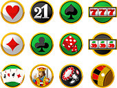 Gambling Cards Suits Casino Chips Dice Icon Set