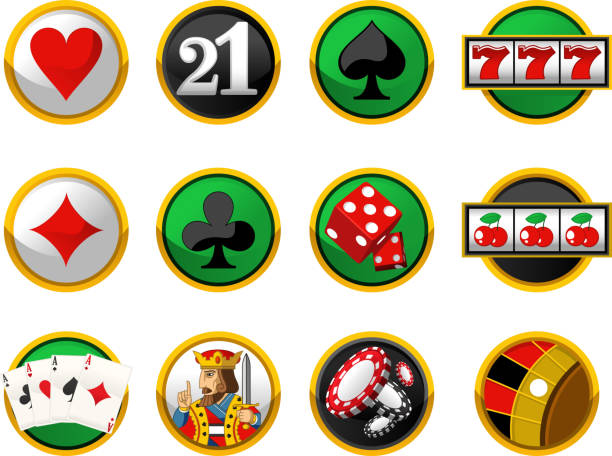Gambling Cards Suits Casino Chips Dice Icon Set Gambling icon set, with pocker Cards, cards Suits, Casino Chips, and dice Dice vectoy illustration cartoon. cartable stock illustrations