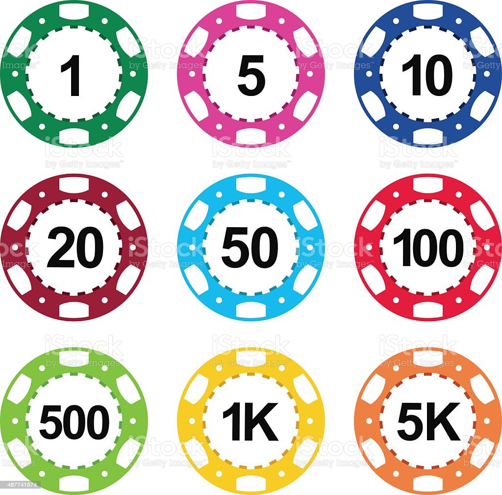 Gambling casino poker chips color set vector art illustration