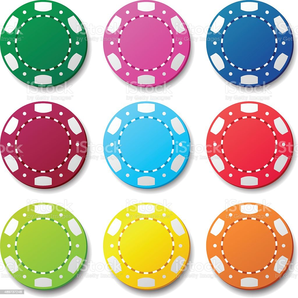 Gambling casino poker chips color sign vector art illustration