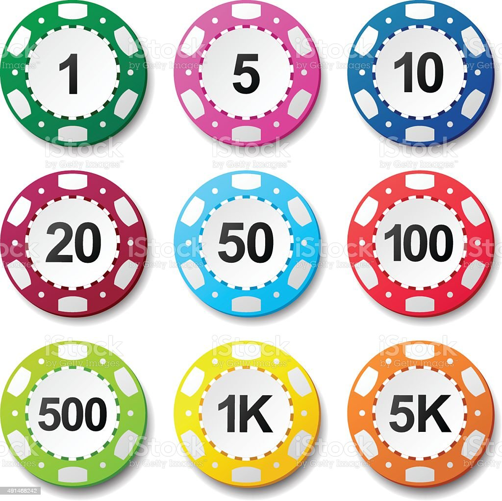 Gambling casino poker chips numbers color sign vector art illustration