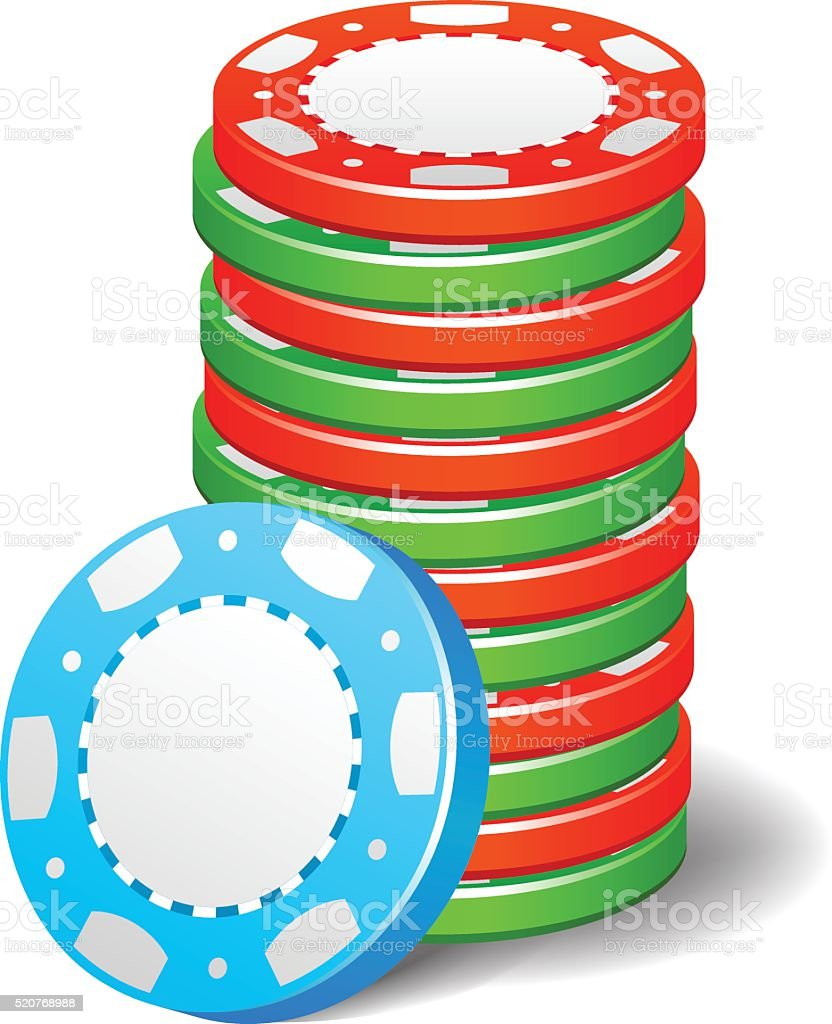 Gambling casino poker stack chips color sign vector art illustration