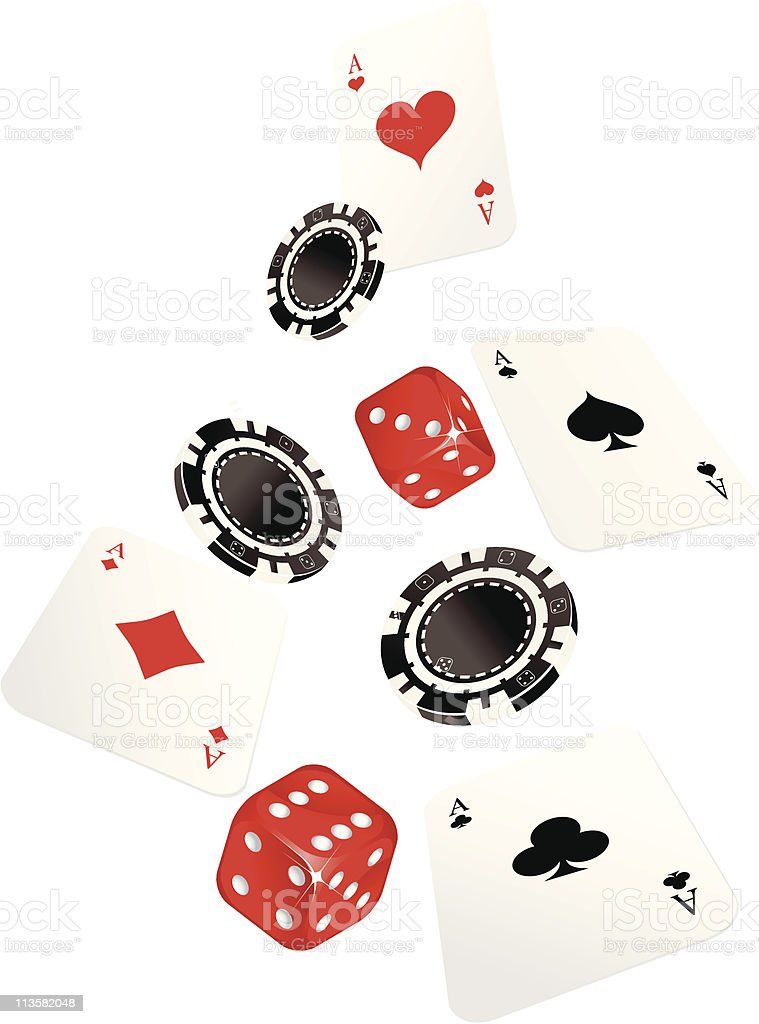 gambling chip ,cards and dices royalty-free stock vector art