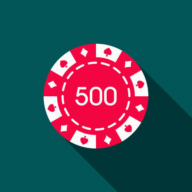Gambling Chip Flat Design Casino Icon with Side Shadow A flat design styled casino icon with a long side shadow. Color swatches are global so it's easy to edit and change the colors. gambling chip stock illustrations