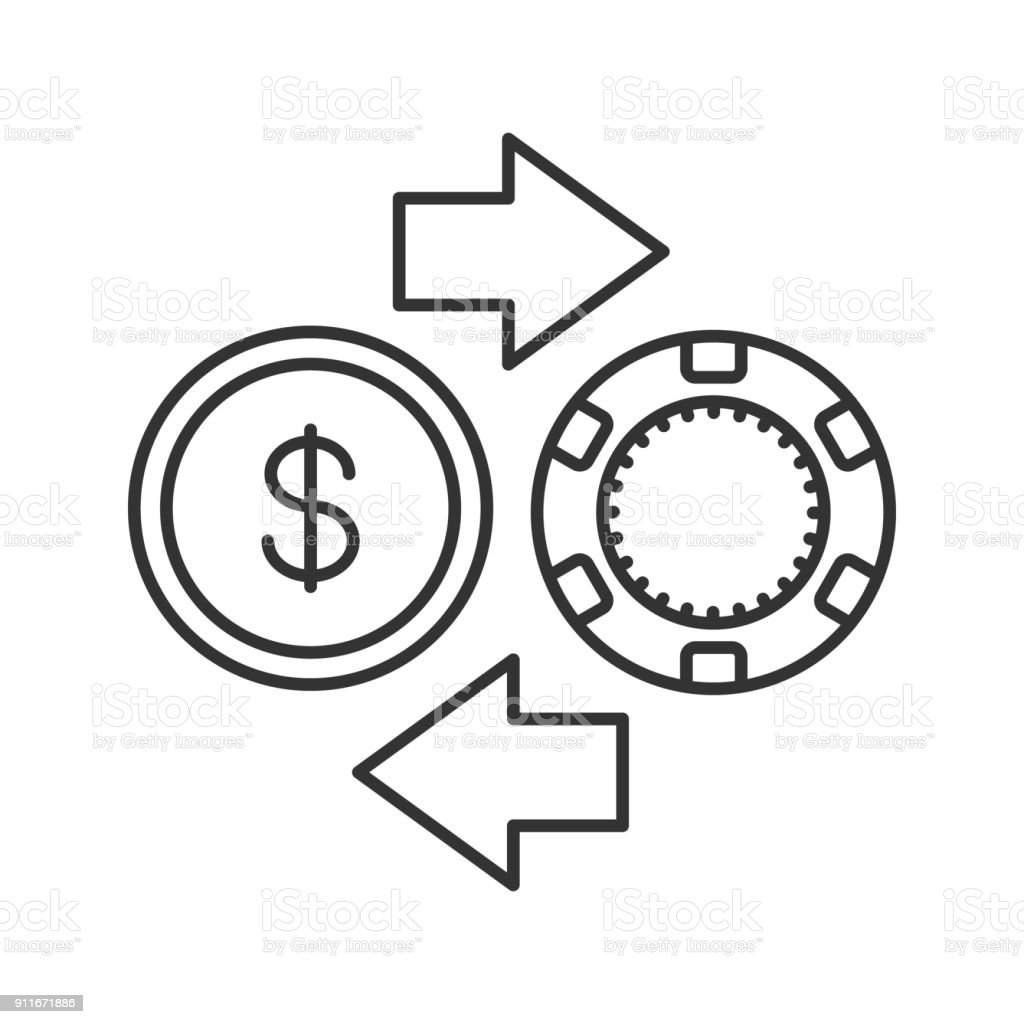 Gambling chips and cash money exchange icon vector art illustration
