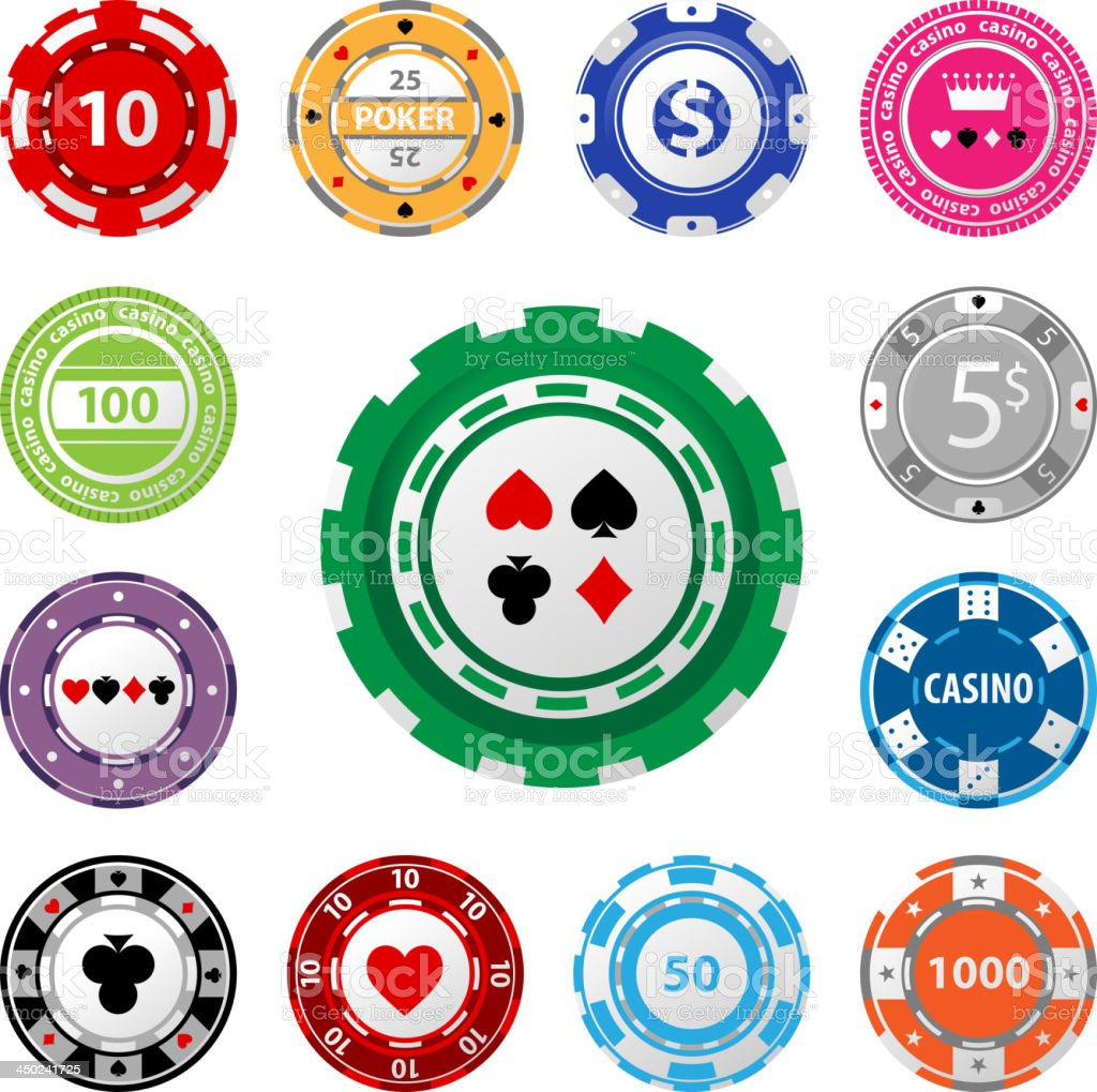 Gambling chips in varying amounts on a white background vector art illustration