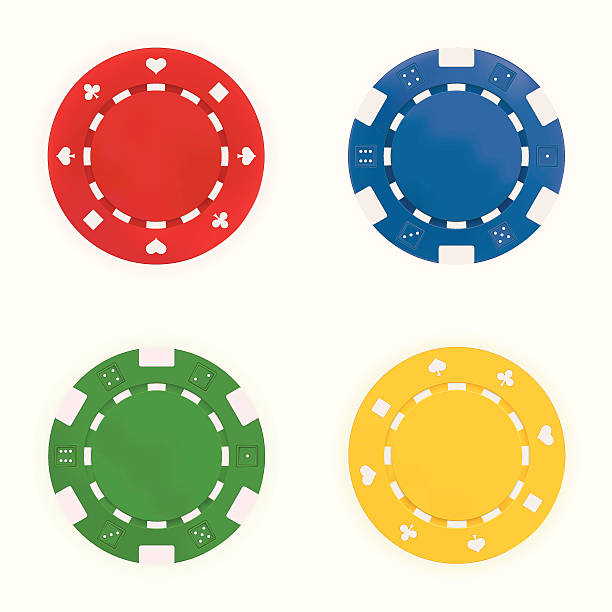 Gambling Chips Gambling Chips in foor colours on white background. Gradient Mesh used. gambling chip stock illustrations