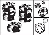 Black and white chips and dice.