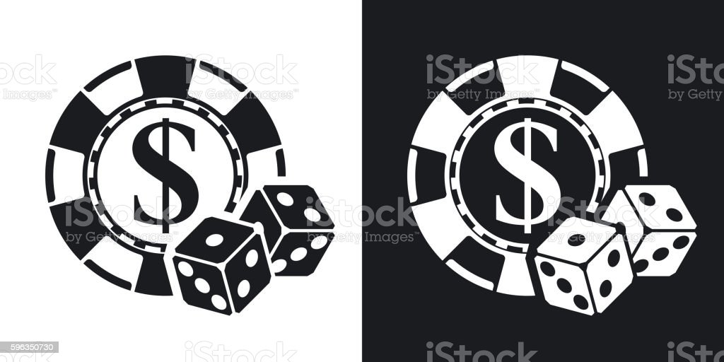 Gambling chips with two dices, vector icon. royalty-free gambling chips with two dices vector icon stock vector art & more images of black color