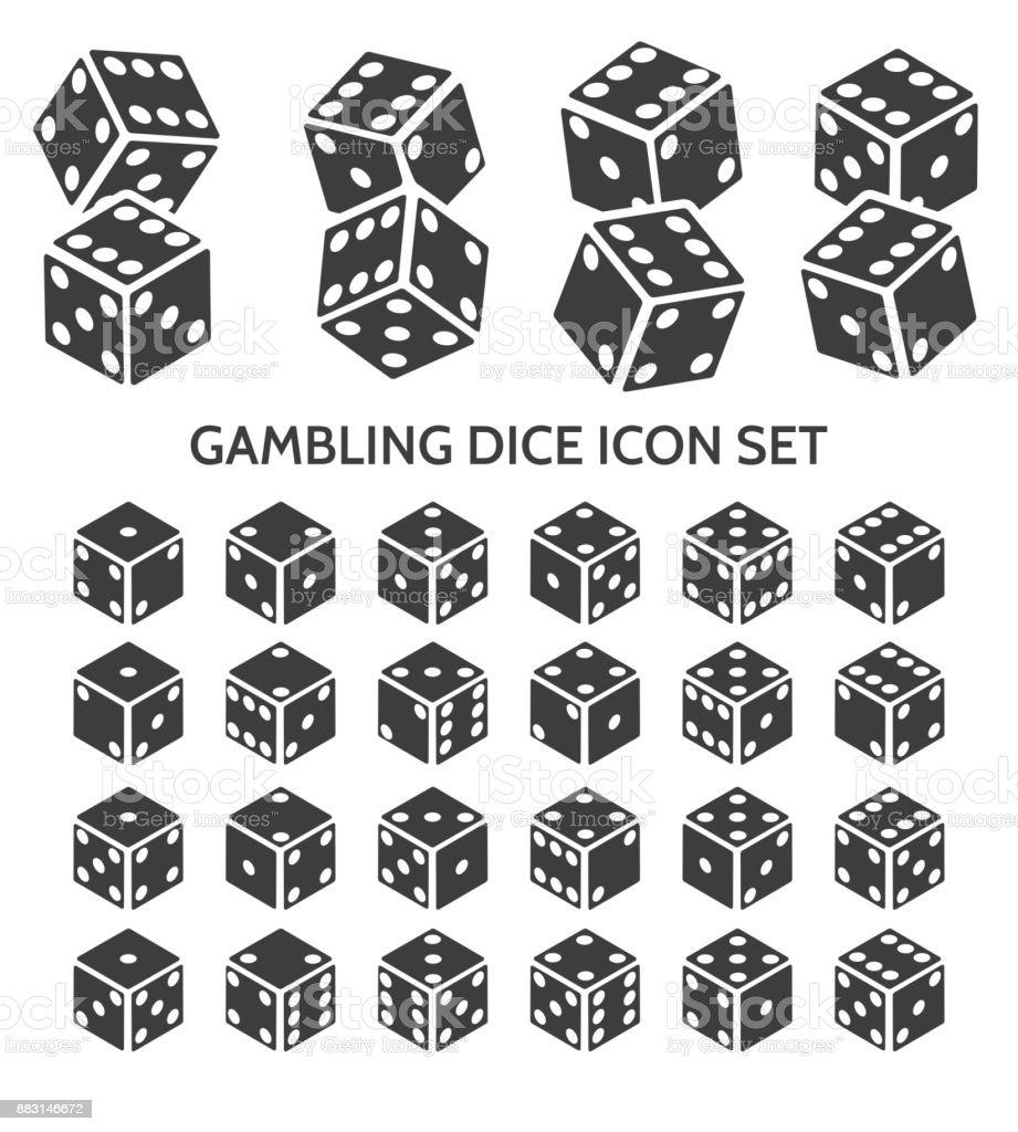 Gambling dice icon set vector art illustration